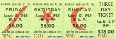 Woodstock Tickets - 3 Day -  Advance Sales